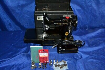 Singer Featherweight 221 Sewing Machine 1949 Case W/Full Tray Serviced Quilters