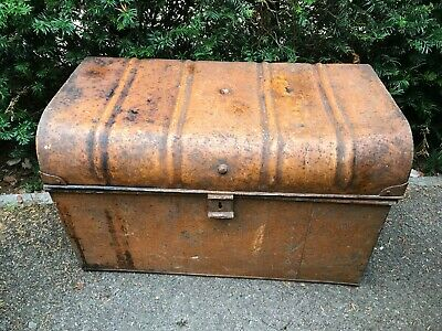 FABULOUS LARGE ANTIQUE JAPPANED METAL TRUNK CHEST STORAGE BOX 29x18x17""
