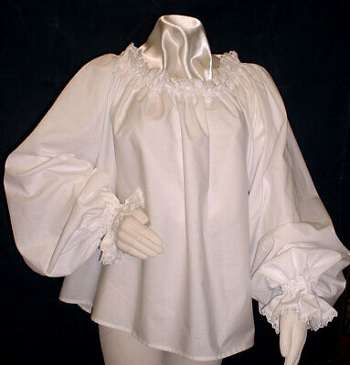 Ladies chemise blouse Renaissance Tudor 100% cotton trimmed with cotton lace