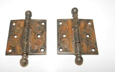 Antique Vintage Ornate Set of 2 Door Hinges Steel Hardware