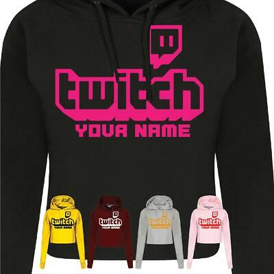 Personalized TWITCH TV GAMING Ladies Crophood Youtube Streaming Womens Hoodie