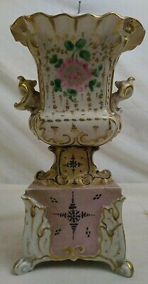 Vase PORCELAINE de PARIS sculpte polychrome peinte dore or fin XIXe siecle art C