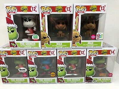 Funko POP! Animation The Grinch Chase, Flocked and Exclusives Lot of 7 Protector