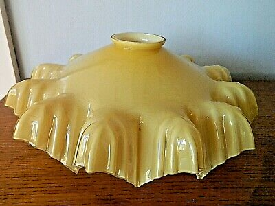 Fabulous Art Deco French Yellow Glass Lamp Shade Coolie Frilled Crimped Edge