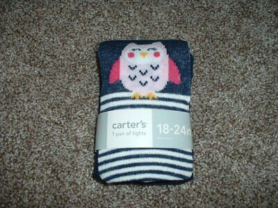 Carter's Striped Owl Tights Navy Blue White Pink Baby Girls 18-24 months NWT NEW