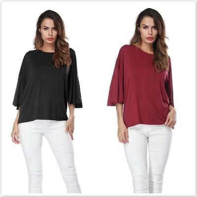 Women Ladies Bat Short-Sleeve Casual Loose Top Thin Section Blouse T-Shirts LC