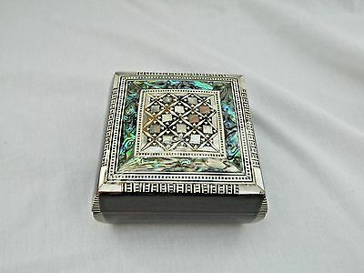 """Egyptian Inlaid Wooden Square Mother of Pearl Paua Unique Jewelry Box 3.75"""" #702"""