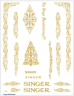 Singer Model 66/99 Filigree  Sewing Machine Restoration Decals Gold Metallic