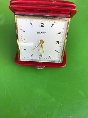 Swiss Looping 8 Day Travel Alarm Clock Lever Antimagnetic Red Vintage