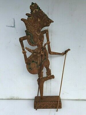 STUNNING ANTIQUE INDONESIAN HAND CARVED WOODEN ARTICULATED SHADOW PUPPET 20x7""