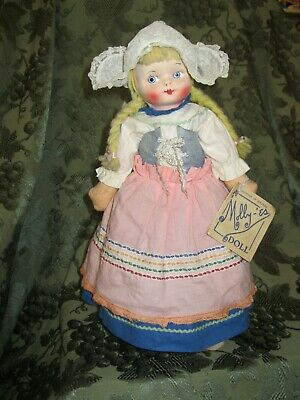 "Molly'es ""Gretchen Of Holland"" Cloth Doll W/ Wonderful Outfit - Wooden Shoes"