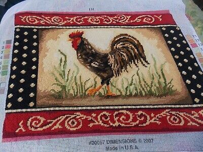 Vintage Needlepoint Canvas COMPLETE Rooster