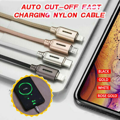 Auto Cut-off Fast Charging Nylon Cable Usb Type C Micro Lightning Cable Uk Stock