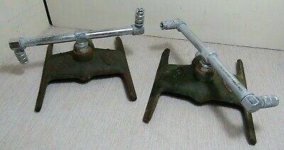 2 VTG Cast Iron Rainbow Spinning Lawn Sprinkler units silver Chrome heads Used