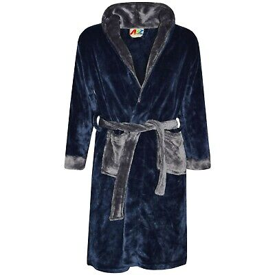 Kids Boys Girls Bathrobes Plain Navy Dressing Gown Night Lounge Wears 2-13 Yrs