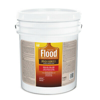Flood  Pro Series  Solid  Satin  White  Tint Base  Acrylic  Wood Stain  5 gal.
