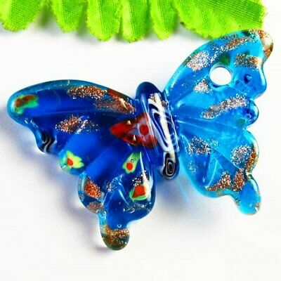 60x40x11mm Carved Blue Inlaid Lampwork Glass Butterfly Pendant Bead A39037