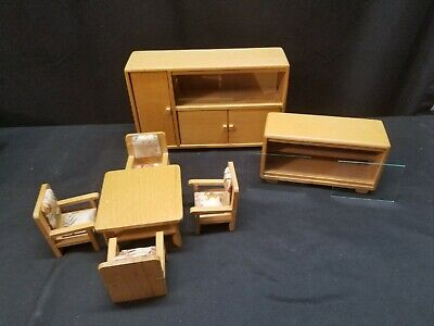 Vintage GERMAN Mid Century Dollhouse Miniature Wood Furniture Dining Room Set