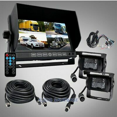 "4PIN 7"" Quad Car TFT LCD Reversing Monitor + CCD Backup Cameras 24V-12V"