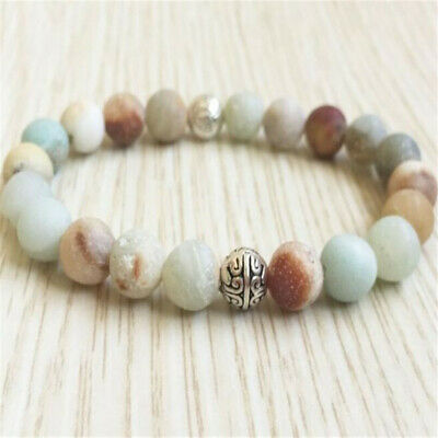 8mm Frosted Amazonite Beads Bracelet 7.5 inches Yoga Monk Gemstone Meditation