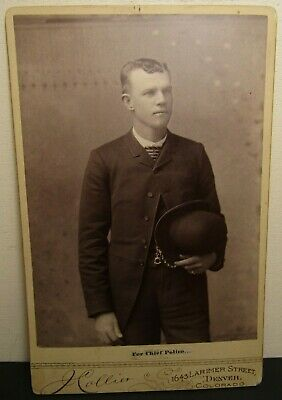 ANTIQUE CABINET CARD PHOTO J Collier Denver Co Chief Police candidate photograph