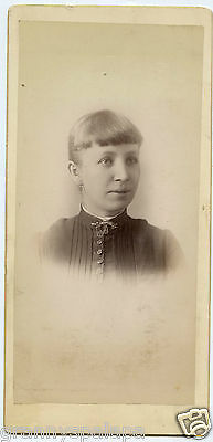 """Cabinet Photo - Young Lady, Light Eyes & Short Bangs - 8"""" x 4"""""""