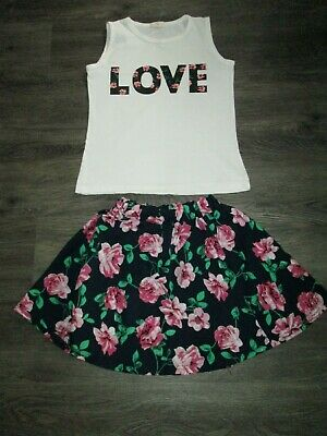 Girls 2Pce Skirt And Top Floral Age 8-9 Yrs Vgc