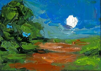 278.Impasto Landscape Farm Original Oil Painting Knife Art AMAZINGARTIST