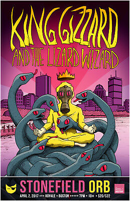 King Gizzard & The Lizard Wizard /Stonefield 2017 Boston, Ma Concert Tour Poster