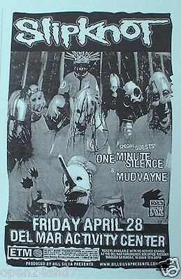 Slipknot / One Minute Silence / Mudvayne 2000 San Diego Concert Tour Poster
