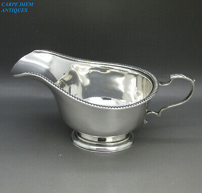 HARRODS LUXURY SOLID STERLING SILVER CREAM / SAUCE BOAT 99g RWB LONDON 1936