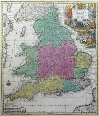 c1756 - Original Antique Map ENGLAND WALES BRITANNIAE Homann Lotter  (LM5)