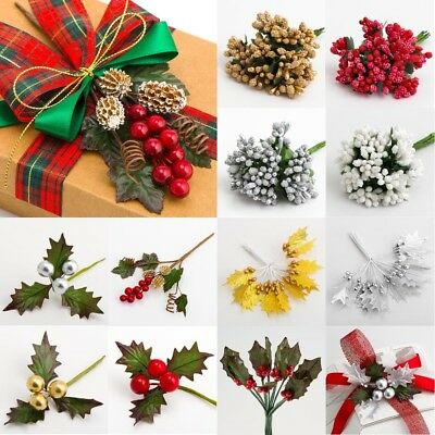 Christmas Stems Craft Decoration - Floristry Cake Embellishment Wire Splays