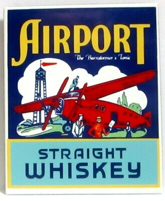 """New Ande Rooney Porcelain Magnet Airport Straight Whiskey 1 1/2"""" X 2 1/8"""""""