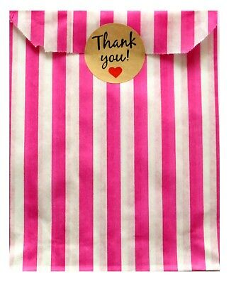 30x 'Thank You' Stickers (30mm) and Pink Candy Striped Paper Bags Birthday Party