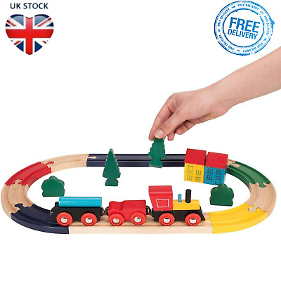 WOODEN TRAIN SET Kids Educational Toy Rail Tracks Childs Playset Boys Girls Gift