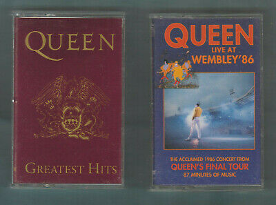 2 Lot QUEEN Cassettes- LIVE At WEMBLEY '86 (FINAL TOUR) & GREATEST HITS- EXC+++