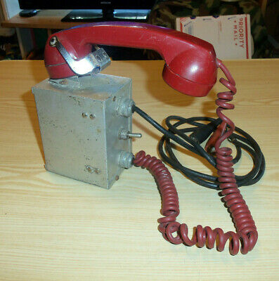 Roanwell Corporation Telephone Box with Red Telephone Handset & Alligator Leads