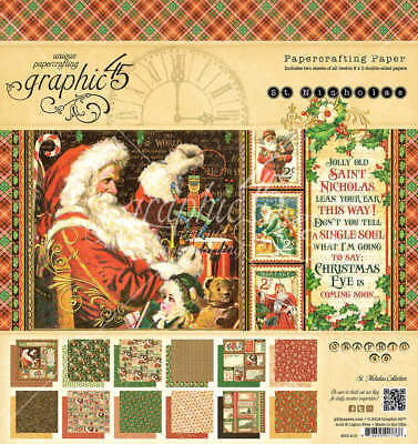 "Graphic 45 * ST. NICHOLAS * 8"" x 8"" CARDSTOCK PAD * Christmas * Retired VHTF"