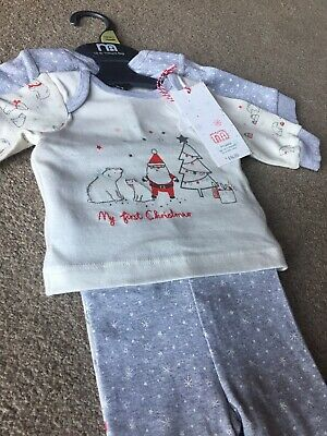 Mothercare Baby Girls Boys My First Xmas Pyjamas Christmas PJ's Up To 1m 2 Pack