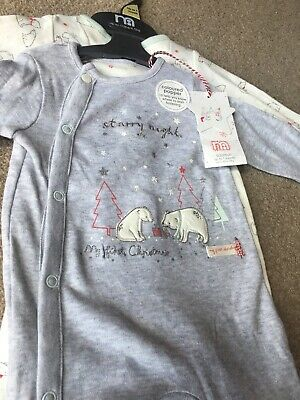 Mothercare Baby Girls Boys My First Christmas Xmas Sleepsuits 2 Pack Up To 1m