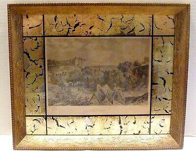 Antique ART MODERN Combed Cove PICTURE FRAME Black & GOLD LEAF Reverse Painted