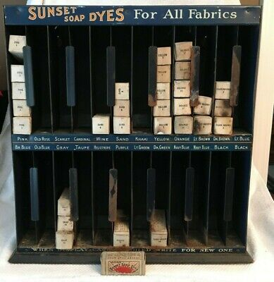 1900's Sunset Soap Dyes Tin Store Display Sign Rack Box American Art Works RARE!