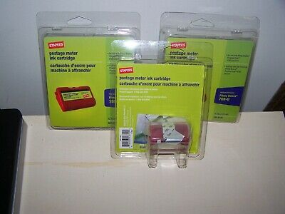 Lot of 3 Staples Postage Meter Ink Cartridges RED PITNEY BOWES 769-0 E700/E707