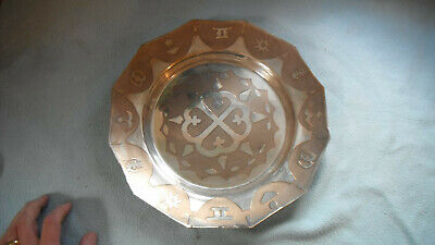 Antique Chinese Silver Plated Tray With Caligraphy