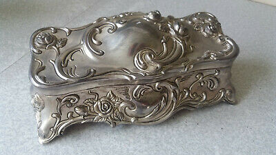 Lovely Vintage Silver Plated Ornate Jewellery Box / Casket- 8 X 4 X 3 Inch