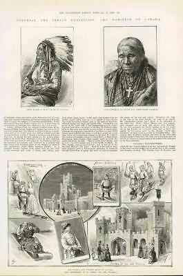 1886 - Antique Print CANADA Colonial Indian Exhibition Cree Sioux Ice Sport(043)