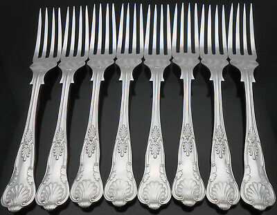 Kings Pattern Set Of 8 Fish Forks - Silver Plated - Bennett & Heron Cutlery