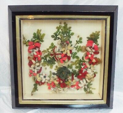 LARGE Old Antique VICTORIAN MOURNING WREATH in Shadow Box Frame Wool Flowers