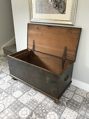 Vintage Victorian Pine Blanket Box/trunk/chest